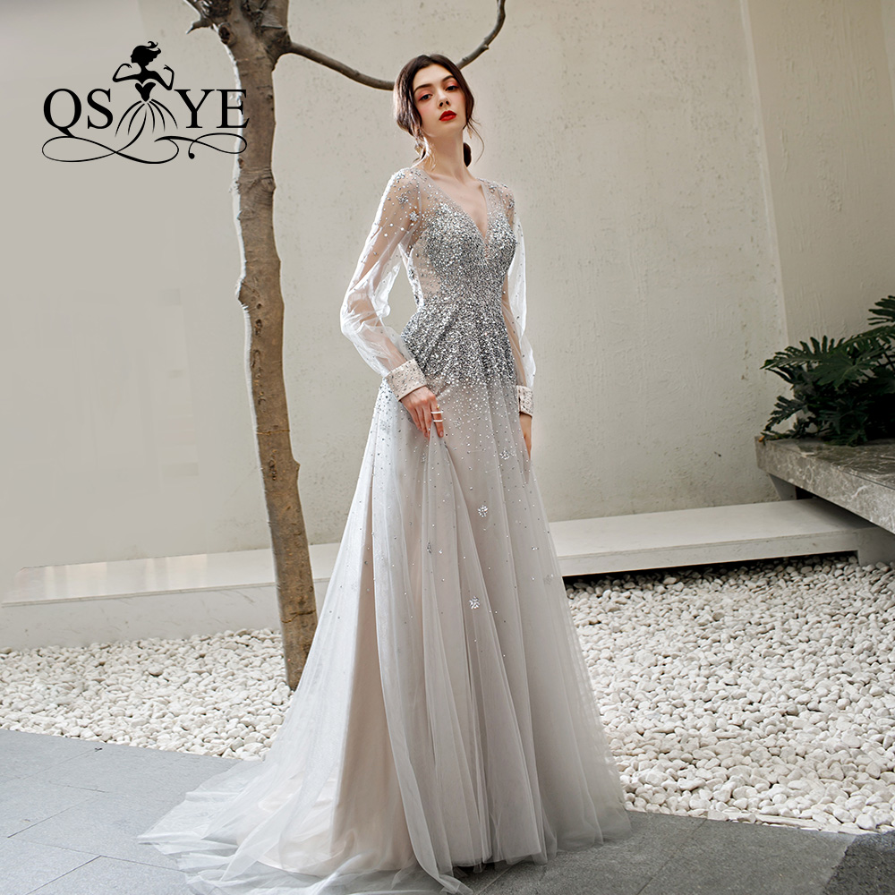 QSYYE 2019 ever pretty Long   Prom     Dresses   tulle v-neck full sleeves backless Beading Floor Length Formal Evening   Dress   Party Gown