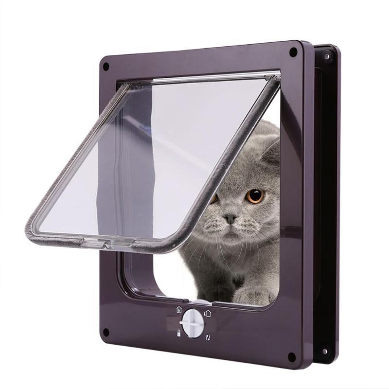 4 Way Lockable Dog Cat Kitten Door Security Flap Door ABS Plastic Animal Small Pet Cat Dog Gate Door Pet Supplies 27*23* 5 Cm