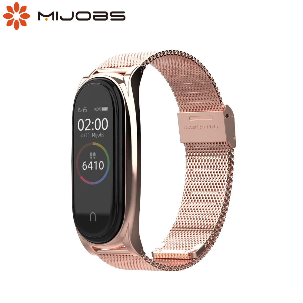 For Xiaomi Mi Band 5 Strap NFC Global Version Mi Band 4 Wrist Bracelet Mi Band 3 Smart Wristband Stainless Steel Accessories image