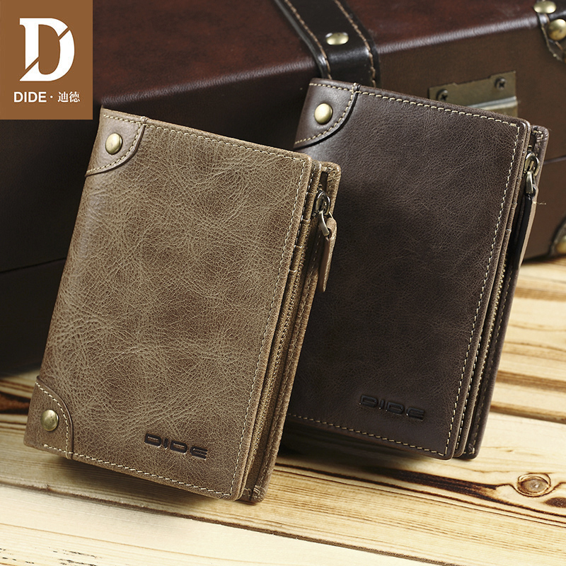 DIDE Men's Wallet Genuine Leather Short Vertical Wallet Male Brand Vintage Design Zipper Coin Purse Card Holder Dropshipping