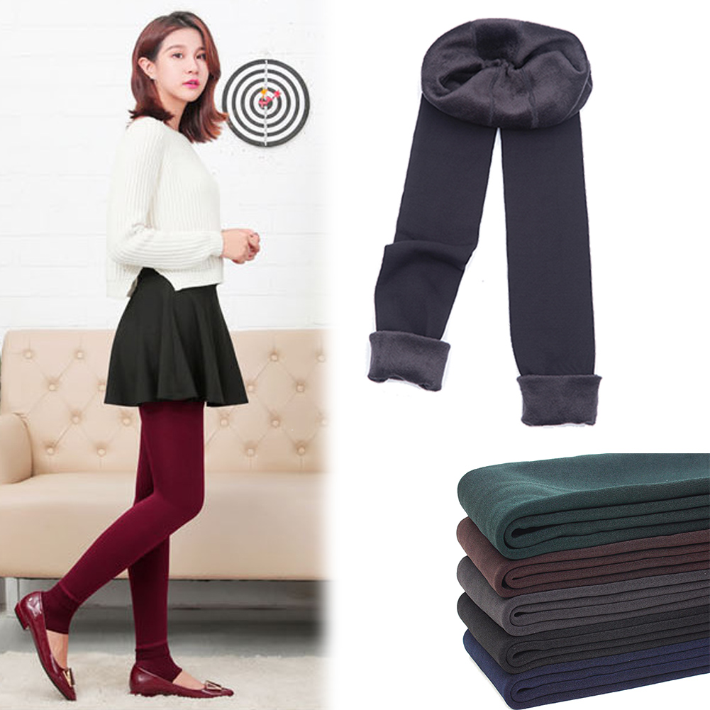 Women's Solid Winter Thick Warm Fleece Lined Thermal Stretchy Leggings Pants LN