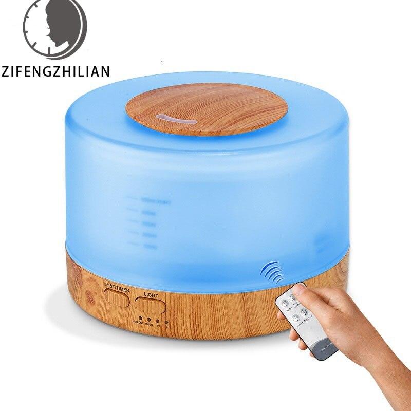 Ароматический диффузор эфирного масла 500 мл, ультразвуковой увлажнитель воздуха с древесным зерном, 7 цветов, меняющий светодиодный свет дл