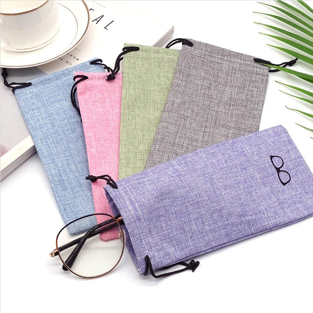 1PC Portable Linen Fabric Sunglasses Bag Glasses Smooth Surface Container Glasses Bag 4 Color Beam Pocket