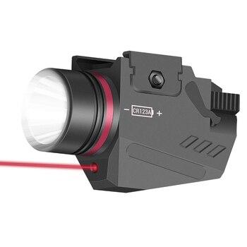 Luz LED táctica para arma, linterna con punto rojo, láser, militar, pistola de luz Airsoft para riel de 20mm