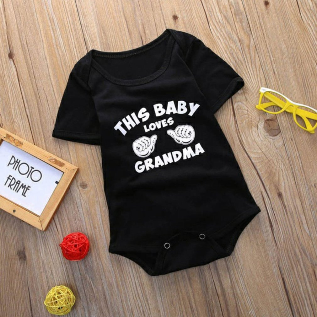 Summer Baby Unisex Casual All-match Style Short Sleeves Fashion Gesture & Letters Printing Cool Round Collar Triangle Romper