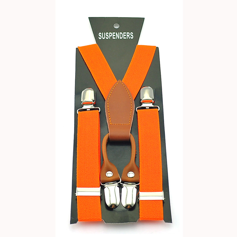 Free Shipping Y-Genuine Leather Candy Orange Color Kids Suspenders BOYS/GIRLS Suspender Elastic Braces 4 Good Clips Suspenders