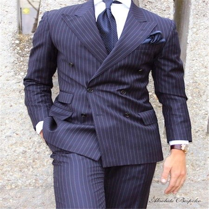 2019 Men Suit 2 Pieces Double Breasted Suits Navy Striped Tuxedo Wedding Suits For Men Slim Fit Tuxedos (Jacket+Pants)