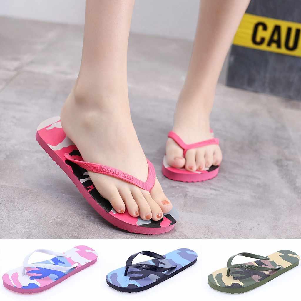 รองเท้าผู้หญิงฤดูร้อน Camouflage Beach Flip Flops แพลตฟอร์มรองเท้าแตะรองเท้าแตะกลางแจ้งรองเท้าแตะชายหาดเลดี้