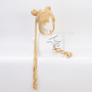Image 2 - Sailor Moon Double Ponytail Long Straight Blonde  Synthetic Cosplay Wig for Halloween Costume Party