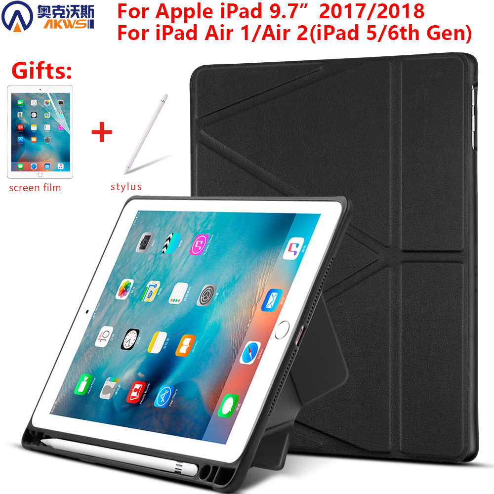 Case for Apple iPad 9.7 2018 2017 case for iPad Air 2 Air 1 5th/6th Generation Soft TPU Tri-folding Tablet Cover with pen slot