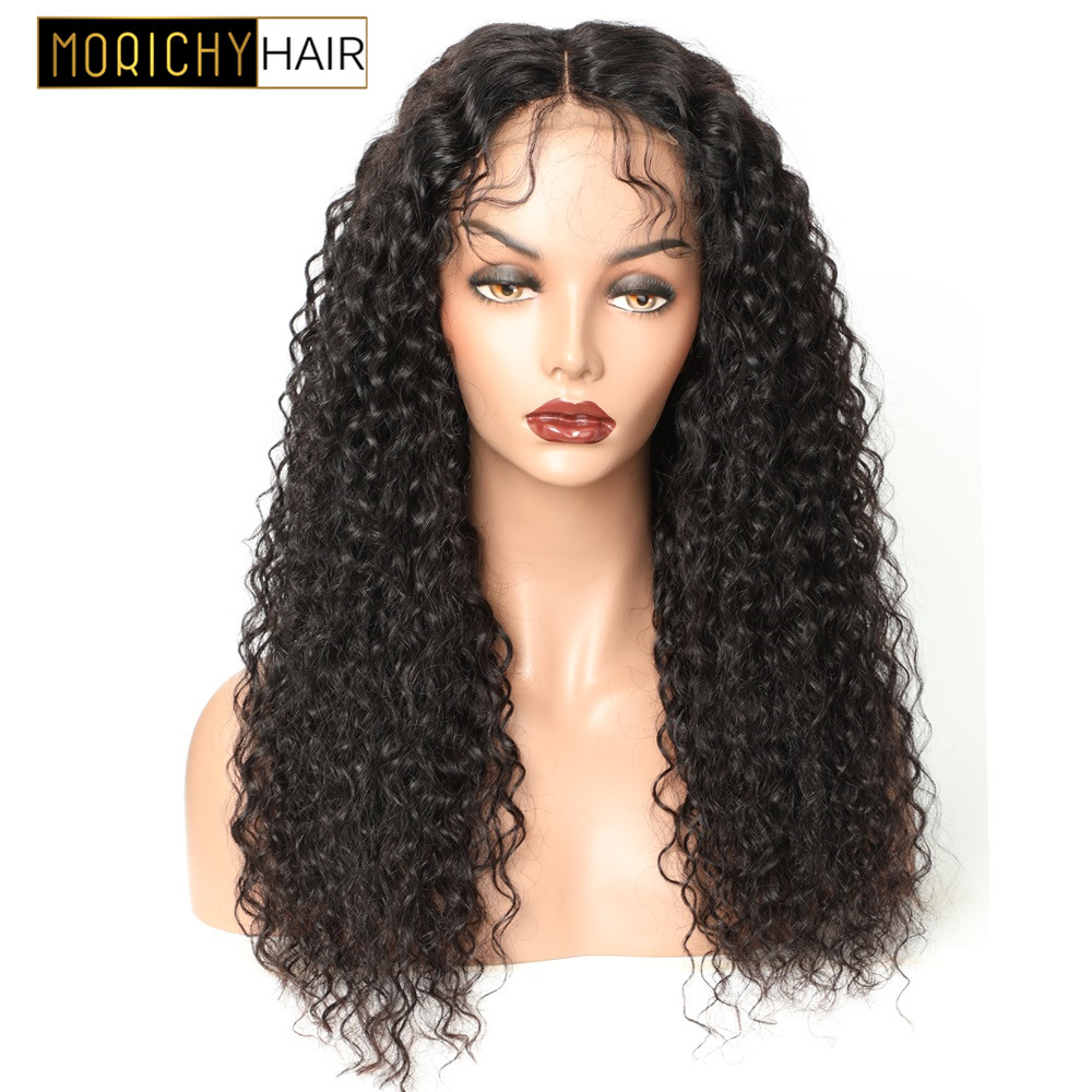 Morichy 4x4 Curly Lace Closure Human Hair Wig With Baby Hair  For Women Brazilian Non-Remy Lace Wig Natural Black Color