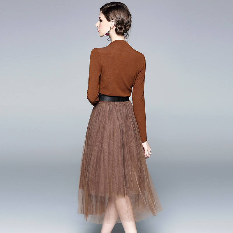 Autumn Clothing New Style Women's Knitted Sweater + Versatile Gauze Skirt Two-Piece Set Fashion Casual WOMEN'S Suit 81035