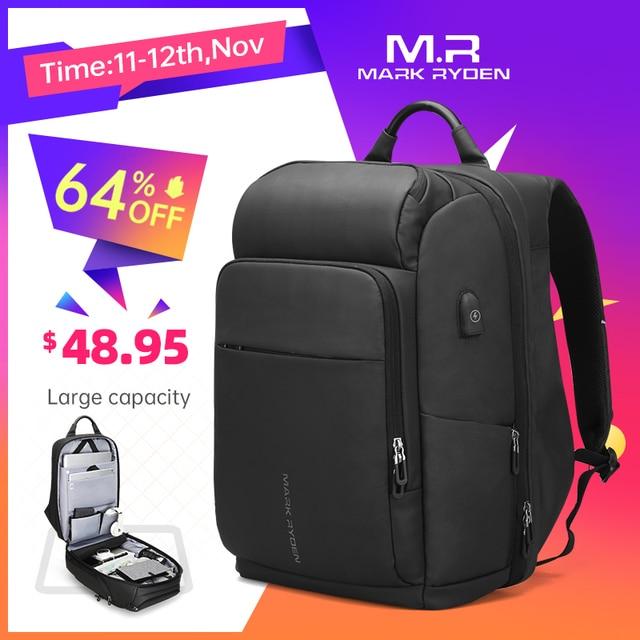 Mark Ryden hombres mochila multifunción USB de carga de 17 pulgadas portátil bolso de gran capacidad impermeable bolsas de viaje para los hombres