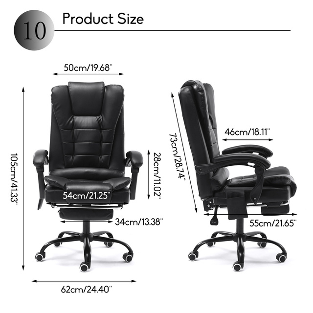 Computer Office Chair Gaming Home Leather Executive Swivel Gamer Chair Lifting Rotatable Armchair Footrest Adjustable Desk Chair 2