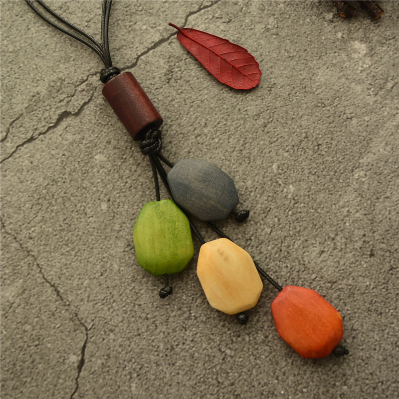 Fashion Geometric Irregular Wood Beaded Necklaces Long Leather Rope Sweater Chain Necklaces for Woman Trend Jewelry