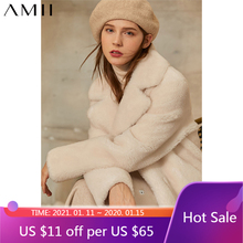 Amii Minimalism Winter Thick Fur Coat Fashion Solid Lapel  Straight Knee-length Women's Jacket Causal Winter Coat Women 12041044