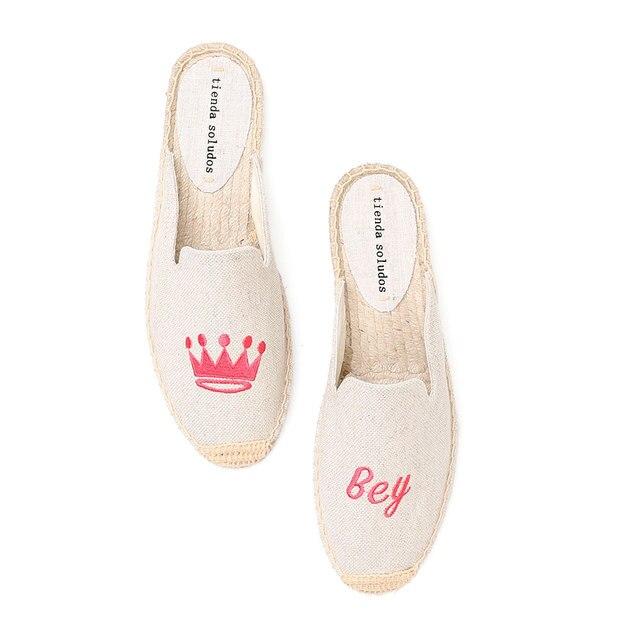 Tienda Soludos נעלי בד נעלי בית עבור שטוח נעלי 2019 קידום חדש הגעה קנבוס קיץ גומי פרדות שקופיות Zapatos De Mujer