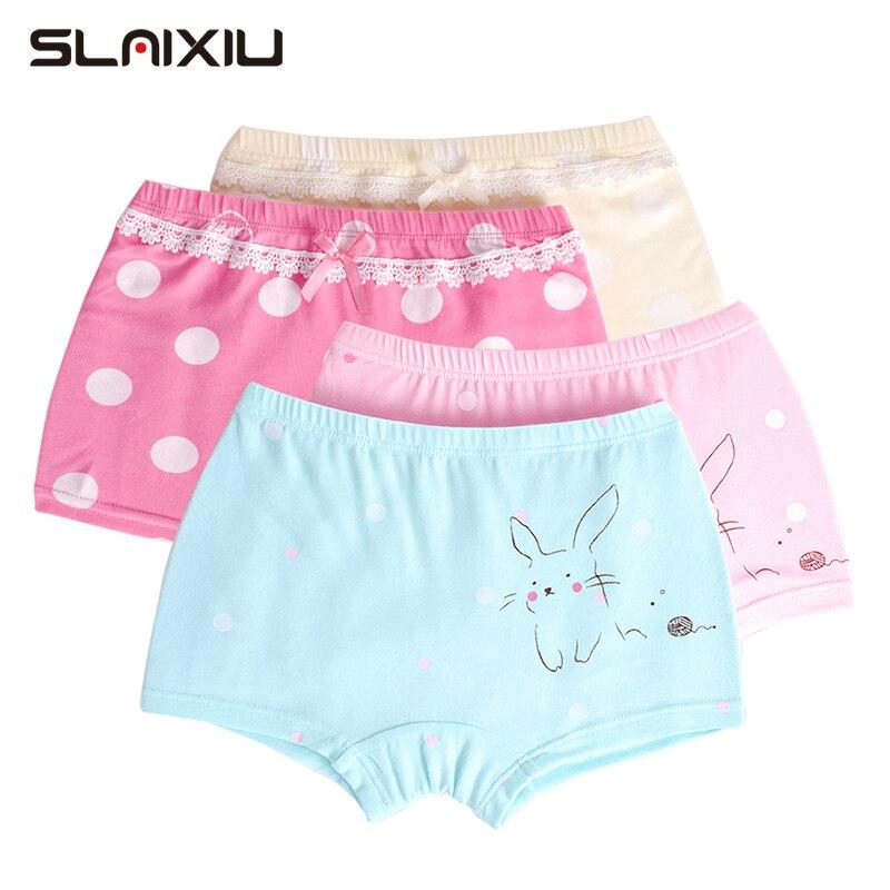 2 Pcs/lot Cute Cartoon Kids Girls Panties Children's Girls Underwear For Baby Boxer Underpants Teenage Pants Boxer