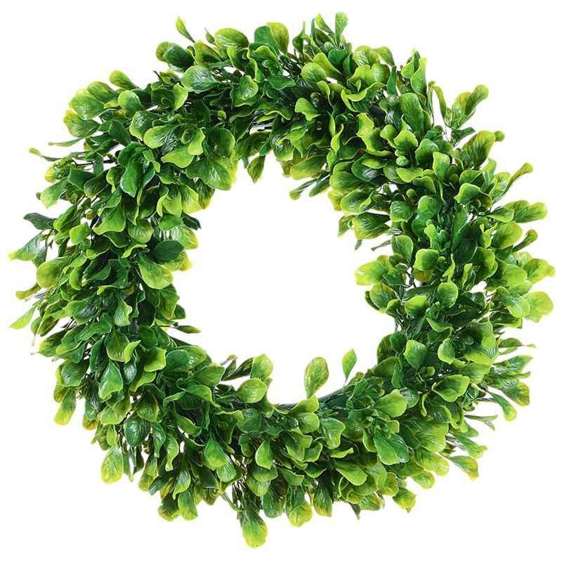 Sztuczne zielone liście wieniec-15 Cal bukszpan wieniec zielony na zewnątrz wieniec na frontowe drzwi okno ścienne Party Decor