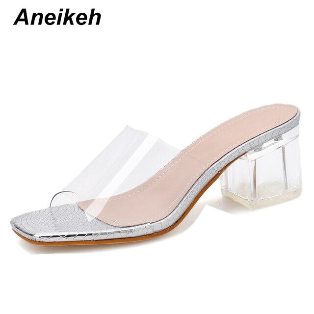 Hot Promo F9f0 Aneikeh 2020 Summer Pvc Serpentine Sandals Fashion Women Heeled Peep Toe 5cm Perspex Heel High Heels Sandals Lady Slingback Shoe Cicig Co