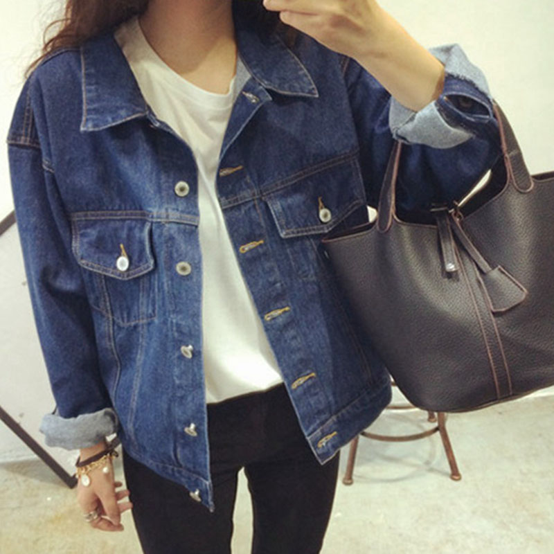 Autumn Long Sleeve Basic Jackets Female Lady Jackets Blue Jean Jackets Winter Coats Outerwear