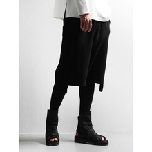 Autumn original literary style loose men's Retro waist elastic tie waist fake two pieces of elastic Leggings