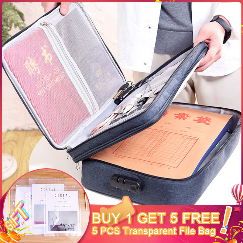 Double Layer Multi-functional Document Bags Portable Waterproof Cloth Organized Zip Tote Business Briefcases Handbag Accessories