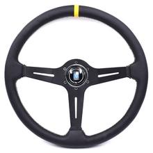 370 مللي متر/15 بوصة ND سباق السيارات الجلد الحقيقي الانجراف الرياضة عجلة القيادة