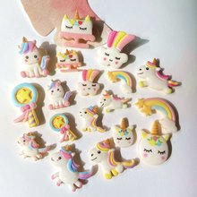 50 pces/20 pces biscoitos coloridos estilo unicórnio arco-íris dos desenhos animados arco resina materiais diy artes artesanato jóias acessórios a80