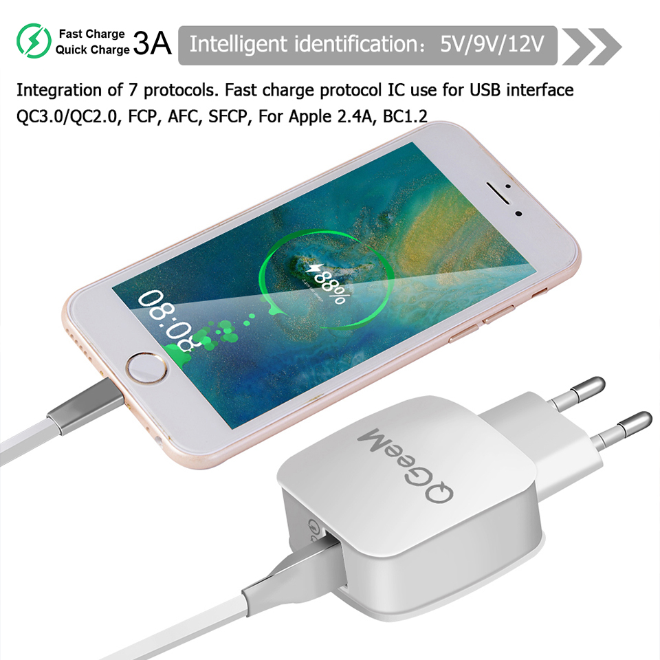 QGEEM QC 3.0 USB Charger Quick Charge 3.0 Phone Charger for iPhone EU US Plug 12V Adapter Fast Charger for Huawei Samsung Xiaomi