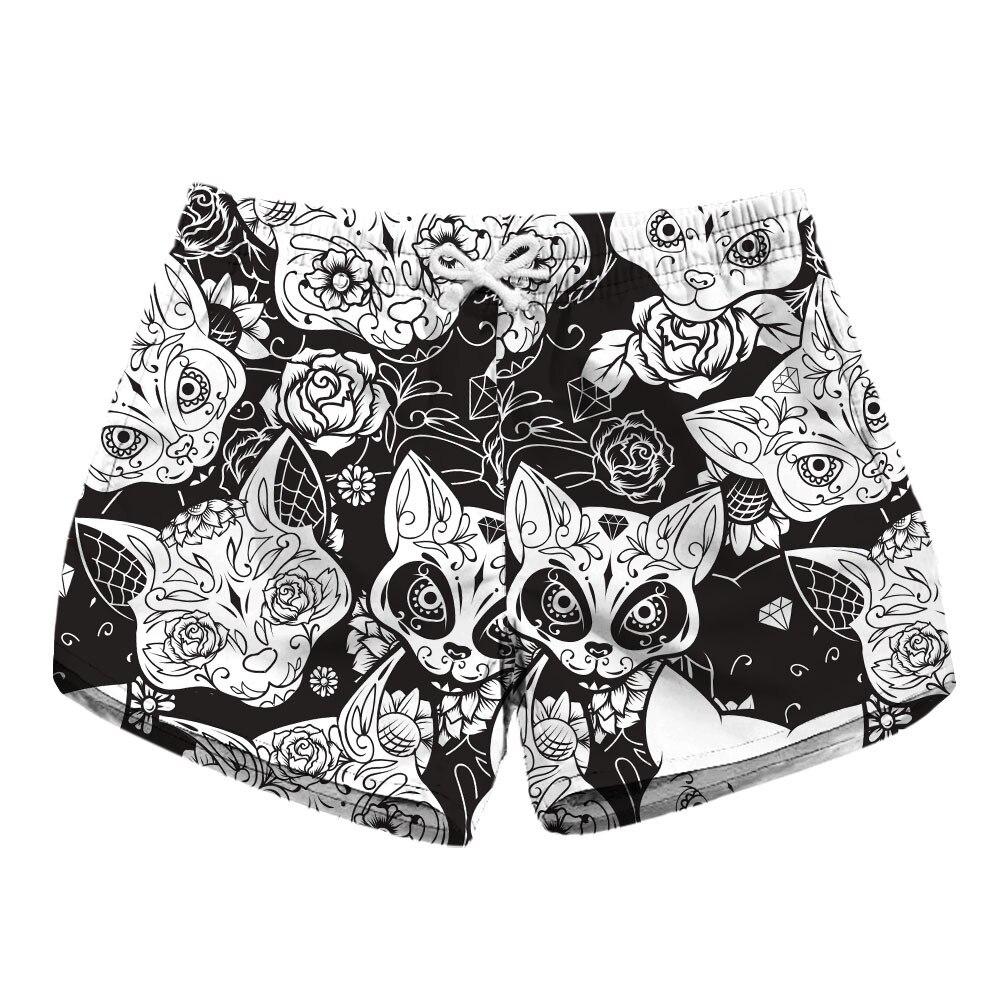 Digital Print Ladies Quick-drying Shorts Skull Print Side Pocket Casual Shorts