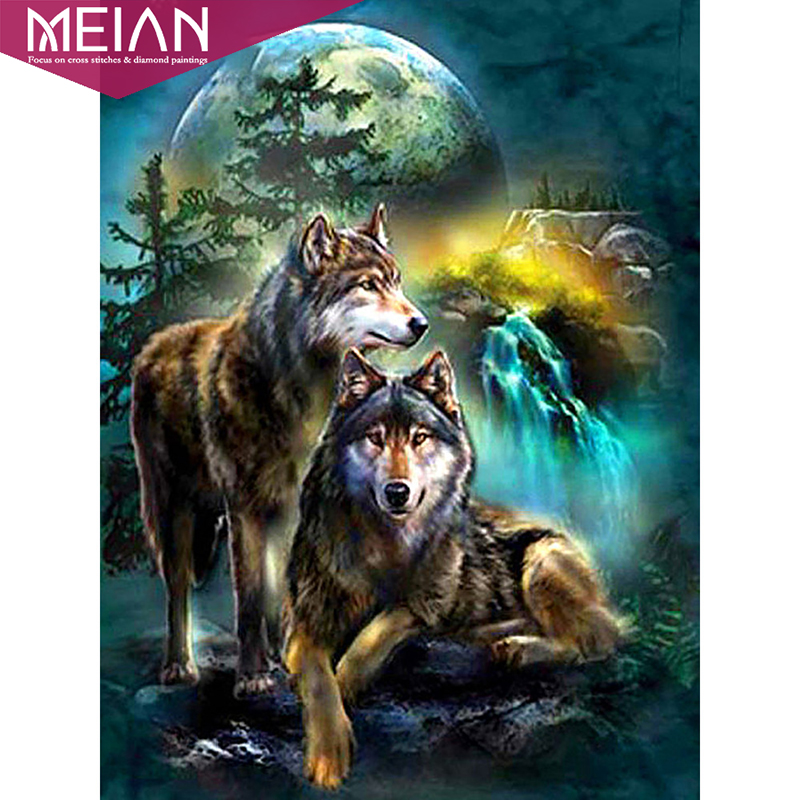 Wolf 5D spécial en forme de diamant peinture Broderie Cristal Cross Stitch Kit Bricolage
