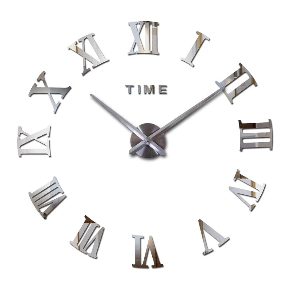 DIY 3D Large Wall Clock Silent Acrylic Mirror Self Adhesive Decorative Wall Clock Sticker Modern Design Roman Numerals