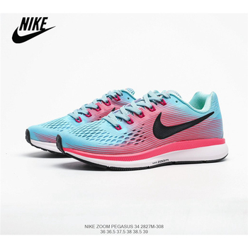 Wmns Nike Air Zoom Pegasus 34 Mesh Breathable Cushioning Sports Running Shoes Size36-40 Original Men Lifestyle Hard Court Low