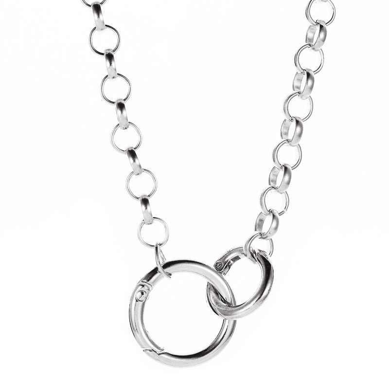 PUNK Hip Hop สไตล์แหวนคู่จี้สร้อยคอ Choker Gold Silver Link Chain เครื่องประดับ 2019 ขายร้อนผู้หญิงคอตกแต่ง