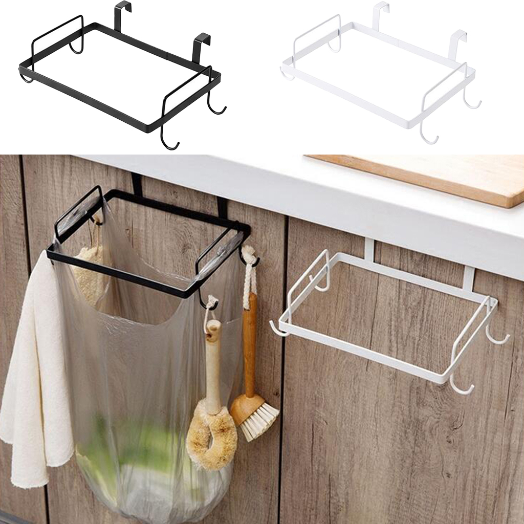 Trash Bag Holder Organizer, Kitchen Garbage Hook Over The Cabinet Wastebasket Trash Can Basket Holder, Hanging