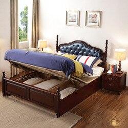 1.8 M drewniane łóżko podwójne łóżko główna sypialnia małżeństwo łóżko 1.5m łóżko pojedyncze łóżko ze schowkiem w stylu amerykańskim solidne drewniane łóżko z prawdziwej skóry