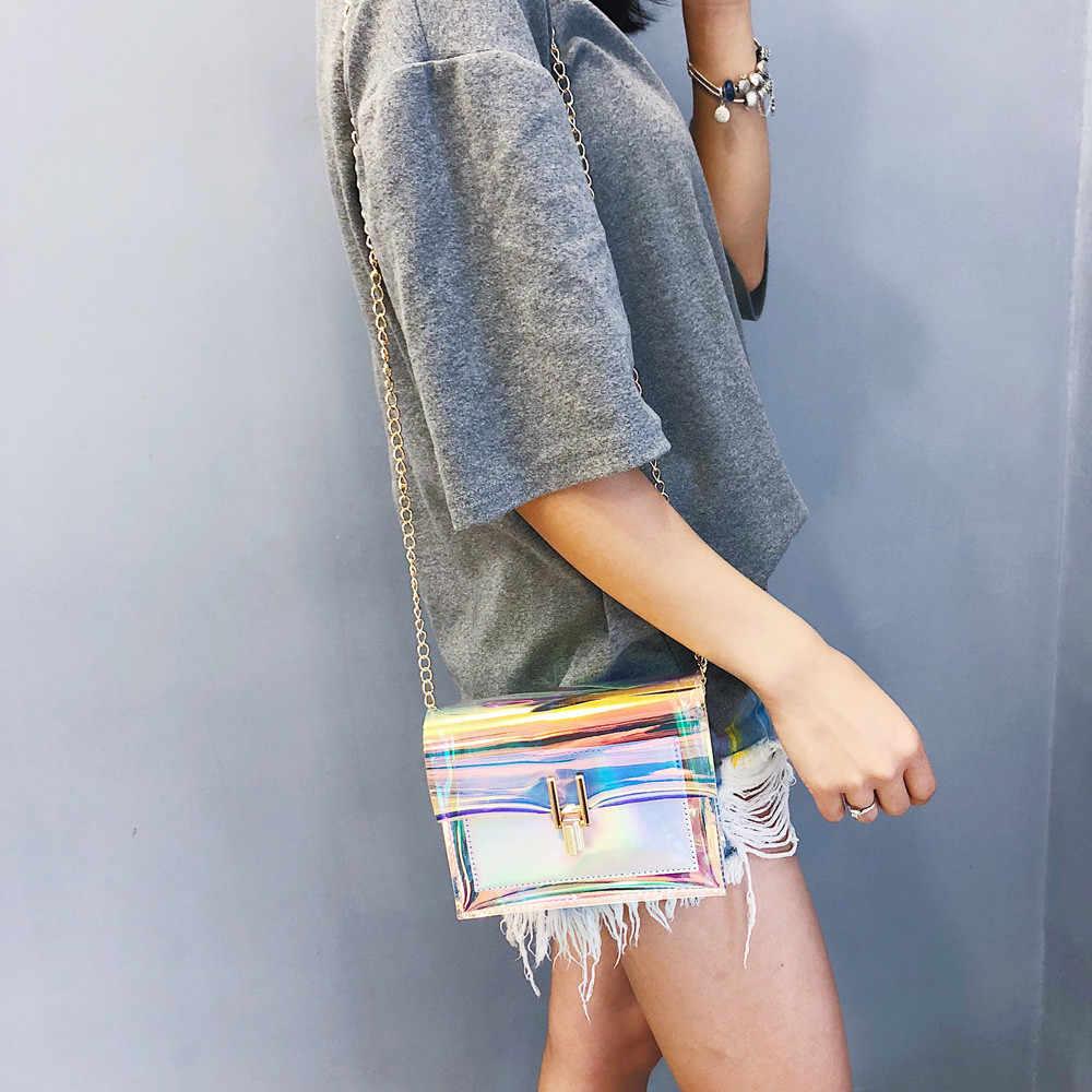 Tas Selempang untuk Wanita 2019 Transparan Laser Tas Fashion Wanita Gaya Korea Bahu Tas PVC Tahan Air Tas Pantai