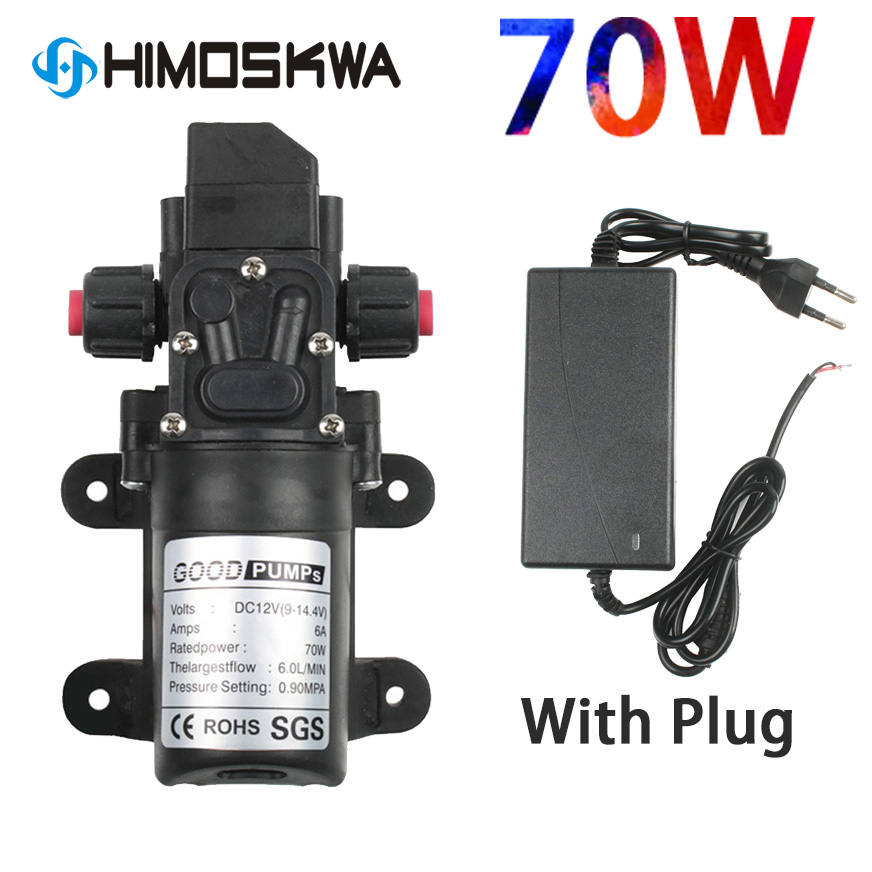 DC 12V <font><b>130PSI</b></font> 6L/Min Water High Pressure Diaphragm Self Priming <font><b>Pump</b></font> 70W with Plug for car cleaning image