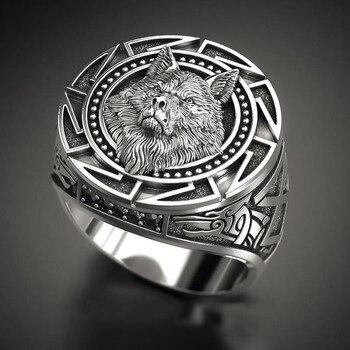 Anillo tótem de lobo negro FDLKBlack, nuevas llegadas, soldado Retro nórdico, regalos de joyería para hombre, martillo Vintage Punk de Thor nórdico Vikingo, anillo para hombre