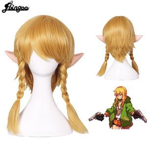 Ebingoo Cosplay Wig Hair-Cap Link Braids Synthetic-Hair Female Women Golden for Adults