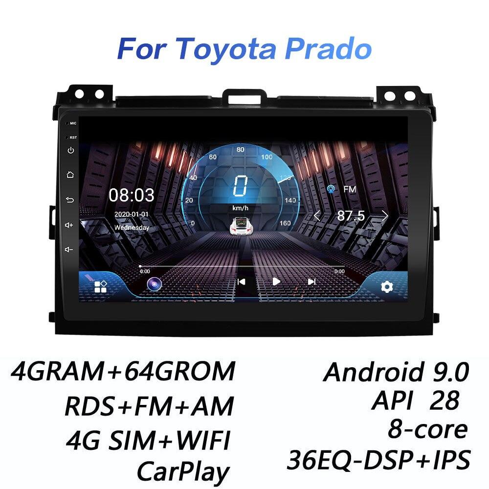 Автомагнитола 2 din, 4 + 64 ГБ, DSP, Android 9,0, 4G, мультимедийный видеоплеер для Toyota Land Cruiser Prado 120 2004 - 2009 carplay, Wi-Fi
