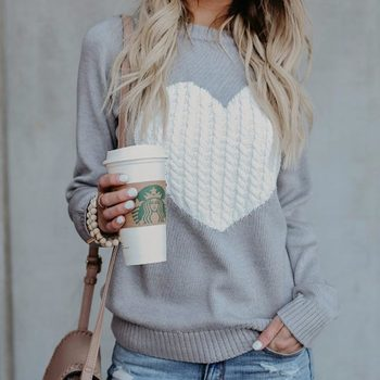 Casual Autumn Winter Pullover Long Sleeve O Neck Heart Knitted Women Sweaters Slim Pull Femme Jumpers 3XL Size Loose Sweater 6
