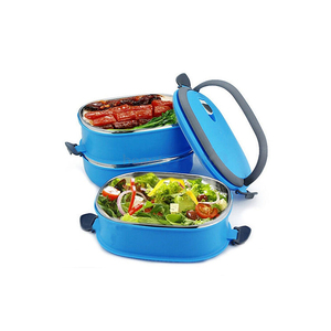 Stainless Steel Lunch Box Food Container Tiffin Square Carrier Blue Green