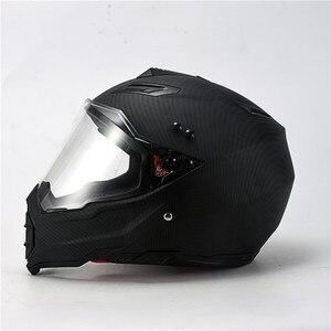 Мате черный двойной спортивный внедорожный мотоциклетный шлем D.O.T Сертифицированный (M, синий) Полнолицевой шлем для мото спорта