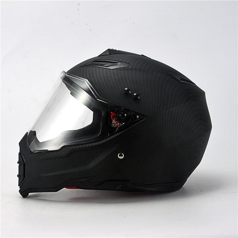 Mate noir double Sport hors route moto rcycle casque saleté vélo ATV D.O.T certifié (M, bleu) complet casco pour moto sport - 5