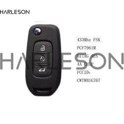 Original Genuine 3 Button 434MHz FSK Flip Remote Key For Renault Megane 4 Captur Kadjar Symbol With HiTag AES 4A Chip CWTWB1G767