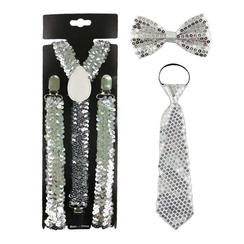 Unisex Adult Suspender Bow Tie Necktie Set Outfits Sequins Solid Adjustable Belt Party Decor Stage Prop