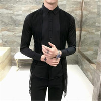 Lace Tape Solid Men Shirt Herren Hemd Slim Fit Party Club DJ Vintage Shirt Men Button Down Black White Camicia Uomo