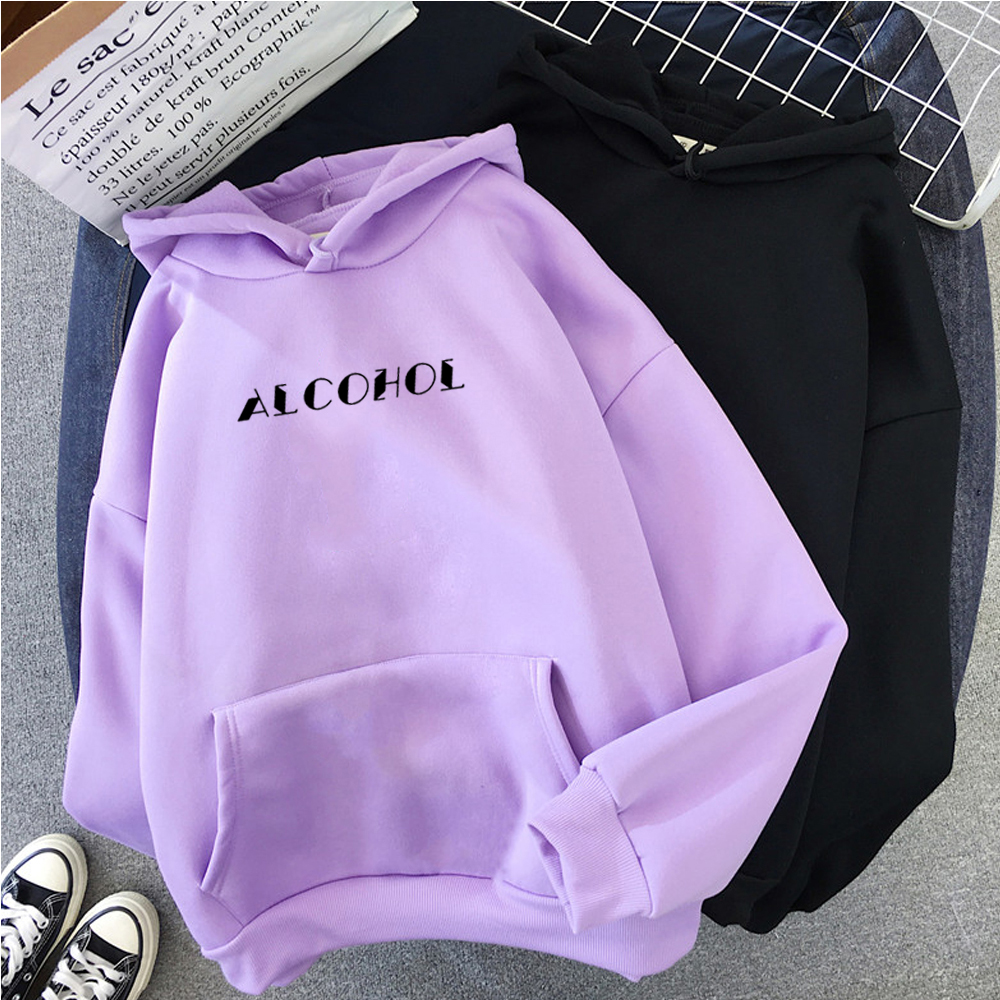 Winter Ladies Hoodies Harajuku Letters Print Pocket Warm Thicken Sweatshirts Casual Friends Female Pullovers Womens Clothing